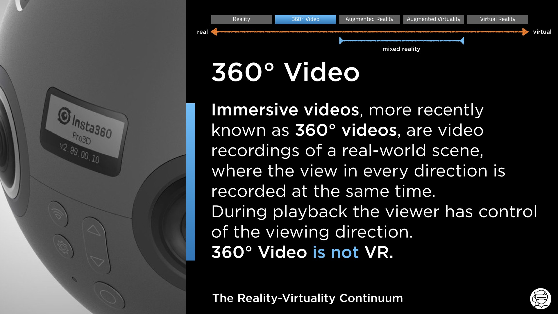 The Reality-Virtuality Continuum: 360° Video
